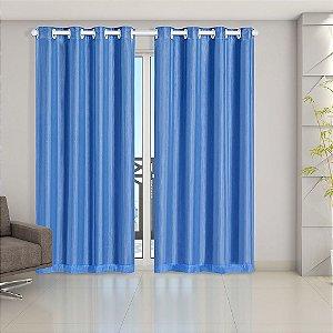 Cortina Blackout PVC prata com Voil 2,80 m x 2,30 m Azul