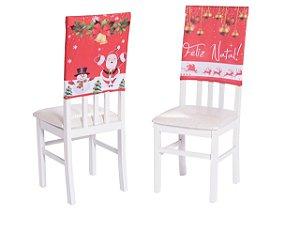 Kit Encosto De Cadeira Estampada Natal 4 Peças Natalina