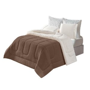 Coberdrom Soft Sherpa Casal Queen 2,50m x 2,40m Tabaco