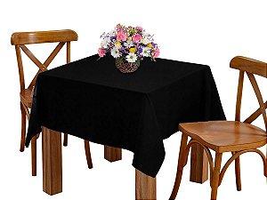 Toalha de mesa 4 Lugares 1,45m Quadrada Oxford Liso Preto
