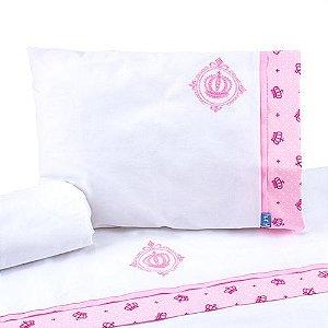 Jogo de Lençol de Berço 100% algodão Conforto Coroa Rosa