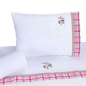 Jogo de Lençol de Berço 100% algodão Conforto Carrossel Rosa