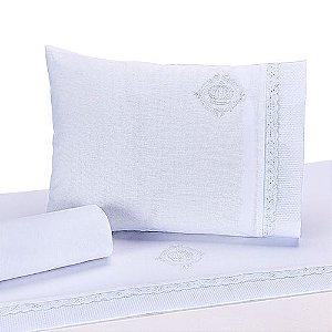 Jogo de Lençol de Berço 100% algodão Conforto Coroa Branco