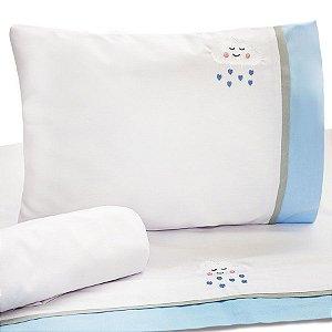 Jogo de Lençol de Berço 100% algodão Conforto Nuvem Azul