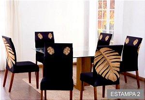 Kit 4 Capas para Cadeira Jantar Malha Elástico Paris Est.2