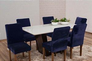Capa Para Cadeira De Veludo - Kit 6 Peças Azul Marinho