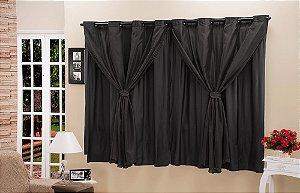 Cortina Blackout PVC com Tecido Voil 4,20 m x 2,50 m Preto