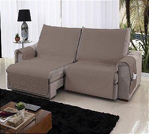 Xále Protetor Sofá Retrátil Reclinável Assento 1,80m Capuccino e Bege