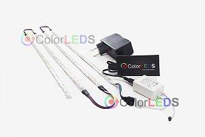 Luminária Aquário 4 x Fita LED RGB 5050 IP65 com silicone 60 leds/metro - de 30cm a 1,2m