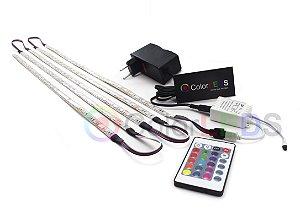 Luminária Aquário 5 x Fita LED RGB 5050 IP65 com silicone 60 leds/metro - de 30cm a 1m