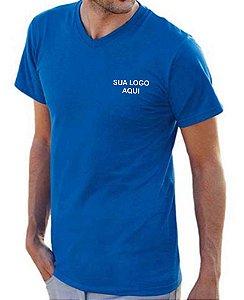 CAMISETA MASCULINA GOLA V 100% ALGODÃO BORDADA