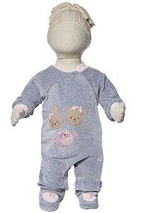 Macacão bebê push ursas cinza