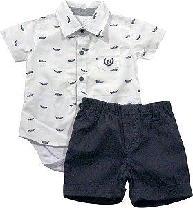 Conjunto camisa com body embutido e shorts barcos Noruega