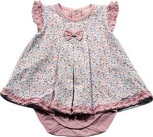 Body com vestido embutido mini flores Noruega