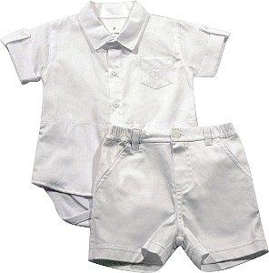 Conjunto camisa com body e shorts batizado Noruega