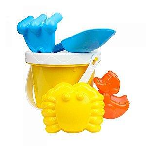 Baldinho de praia amarelo kit com 6 peças Dican