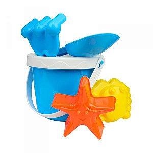 Baldinho de praia azul kit com 6 peças Dican