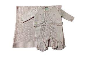 Saida de Maternidade Rosa 3 peças Bordado à mão Noruega