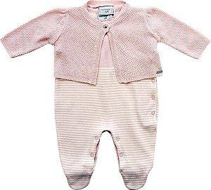 Conjunto Bebê Casaco e Macacão Rosa Noruega