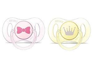 Mini chupeta rosa e amarela com 02 Phillips Avent