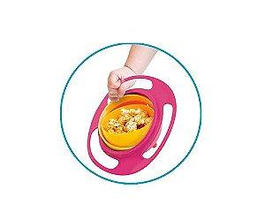 Prato Mágico Giro Bowl Rosa e amarelo Buba Toys