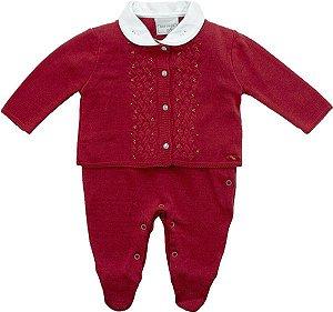 Conjunto bebê vermelho macacão e casaco Noruega