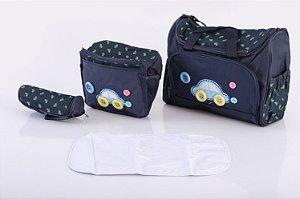 Bolsa de Maternidade com Porta Mamadeira Azul EBYE