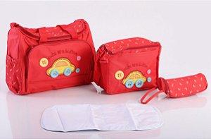 Bolsa de Maternidade com Porta Mamadeira Vermelha EBYE