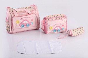 Bolsa de Maternidade com Porta Mamadeira Rosa EBYE
