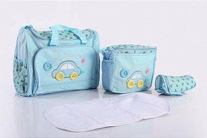 Bolsa de Maternidade com Porta Mamadeira Azul Claro EBYE