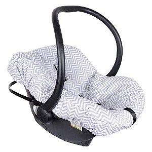 Capa Para Bebê Conforto Chevron Cinza Candytree