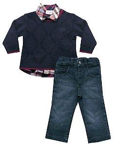 Conjunto de sweater, camisa e calça jeans Noruega