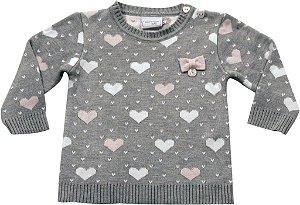 Sweater jacquard corações Noruega