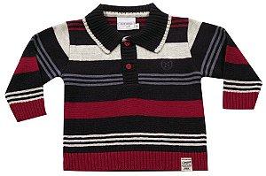 Sweater infantil com gola listras Noruega