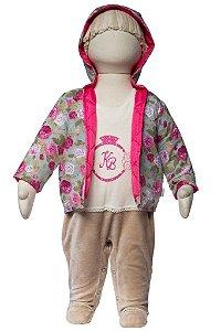 Macacão bebê com jaqueta matelasse floral Keko