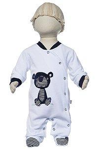 Macacão bebê urso Tedy branco Keko
