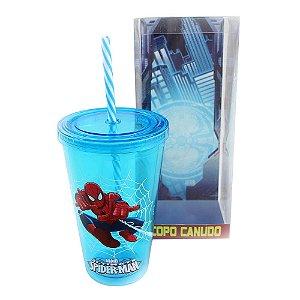 Copo canudo spider man azul