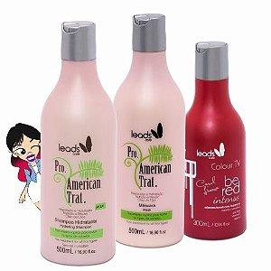 Red Magnífico ( Másc Tonalizante Be Red Carol Lima 300 ml + Sh Hidratante American Trat 500 ml + Másc American Trat 500 ml )