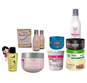 Pequenos Poderosos ( Magic wand + Kit American trat + Lady máscara  + Máscara Boom  + Mass whey protein + SOS Mary Help  + Detox Capilar +Banho de Verniz + whey Capilar)