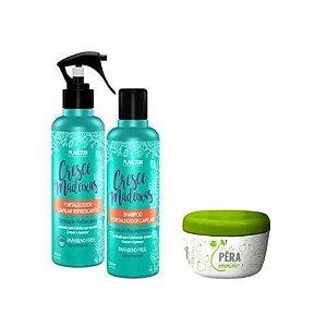 Kit Força e Crescimento ( Kit shampoo 200 ml e spray tônico 200ml + Pera Creminho Reconstrução 300g)