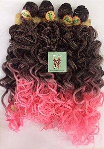 Kit Fibra Orgânica (Hair Dreams) Cacho Largo - Cor Ombré Preto com Rosa - *01 peça 45cm  *01 peça 50 cm, *01 peça 55cm  *01 peça 60cm  - Total  220 Gramas -  1 metro e meio de Tela em cada Peça