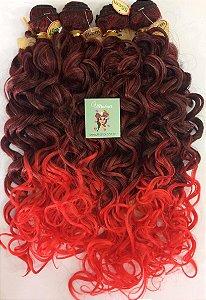 Kit Fibra Orgânica (Hair Dreams) Cacho Largo - Cor Ombré Preto com Vermelho - *01 peça 45cm  *01 peça 50 cm, *01 peça 55cm  *01 peça 60cm  - Total  220 Gramas -  1 metro e meio de Tela em cada Peça