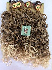 Kit Fibra Orgânica (Hair Dreams) Cacho Largo - Cor Ombré Mel com Loiro - *01 peça 45cm  *01 peça 50 cm, *01 peça 55cm  *01 peça 60cm  - Total  220 Gramas -  1 metro e meio de Tela em cada Peça