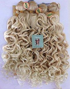 Kit Fibra Orgânica (Hair Dreams) Cacho Largo - Cor Loiro - *01 peça 45cm  *01 peça 50 cm, *01 peça 55cm  *01 peça 60cm  - Total  220 Gramas -  1 metro e meio de Tela em cada Peça