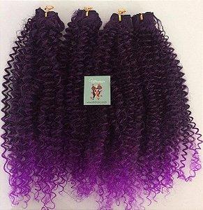 Kit Fibra Orgânica (Hair Dreams) Cacho Fechado - Cor Ombré Preto com Lilás - Todas peças no tamanho de 55cm (esticado) - Total 120 Gramas - 80cm de Tela em cada Peça