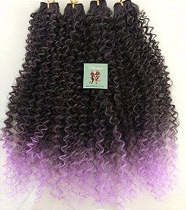 Kit Fibra Orgânica (Hair Dreams) Cacho Fechado - Cor Ombré Preto com Roxo Pastel - Todas peças no tamanho de 55cm (esticado) - Total 120 Gramas - 80cm de Tela em cada Peça