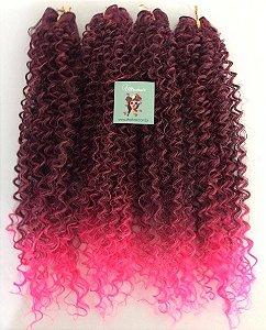 Kit Fibra Orgânica (Hair Dreams) Cacho Fechado - Cor Ombré Preto com Rosa Neon - Todas peças no tamanho de 55cm (esticado) - Total 120 Gramas - 80cm de Tela em cada Peça