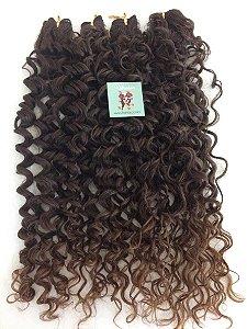 Kit Fibra Orgânica (Hair Dreams) Cacho Médio - Cor Castanho Médio - Todas peças no tamanho de 55cm (esticado) - Total 120 Gramas - 80cm de Tela em cada Peça