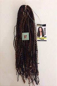Bohemian - Faux Remi Fiber - Fibra para Crochet Braids - Mesclado Preto com Chocolate Cor P1B/30 - 60cm Fechado 1.20mt aberto - 50 gr