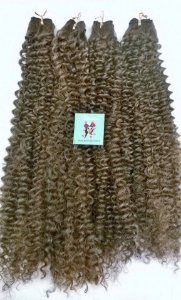 Kit Fibra Orgânica (Hair Dreams) Cacho Médio - Cor Mesclado Castanho Claro com Loiro - Todas peças no tamanho de 55cm (esticado) - Total 120 Gramas - 80cm de Tela em cada Peça